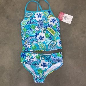 Kanu Surf Blue Tropical Tankini Bikini Swimsuit 12